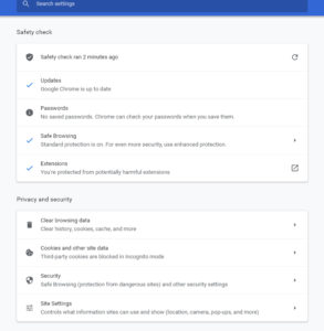 Chrome Safety Check Settings
