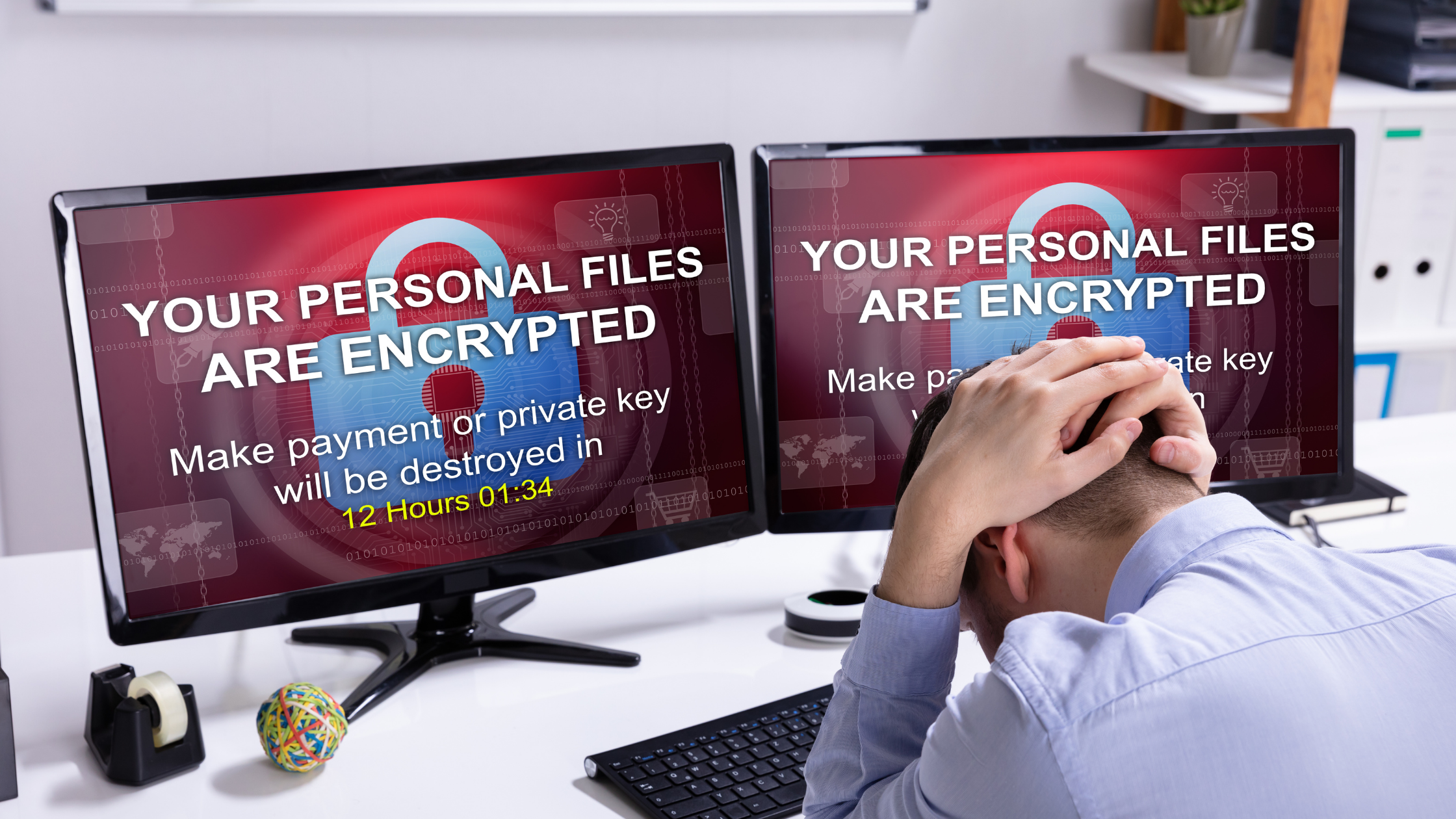 man frustrated by ransomware